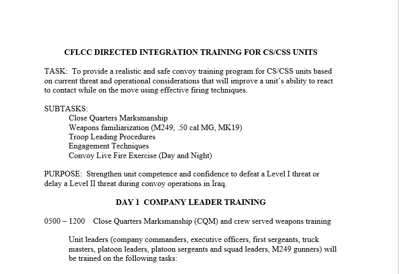 Convoy Training, Outline for a 4-day Exercise