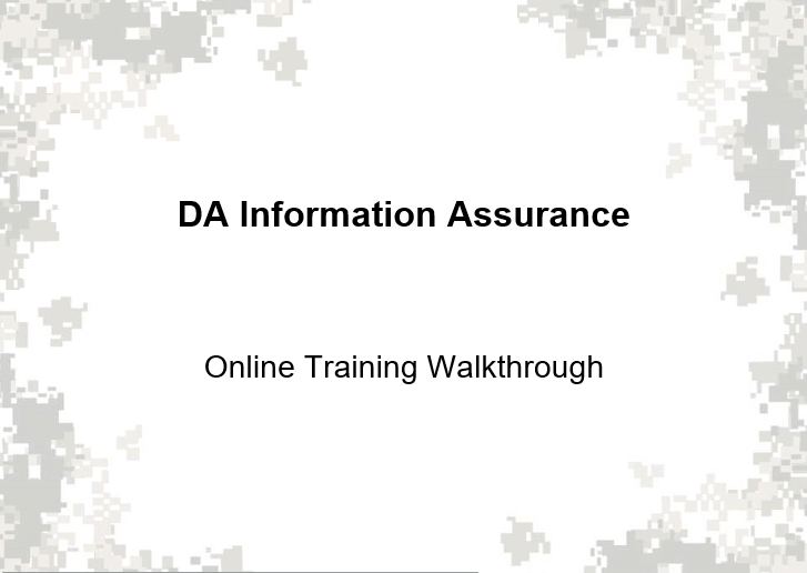 Departament Of The Army Information Assurance