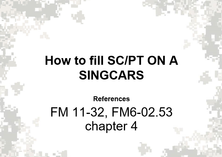 A powerpoint class on how to fill Singcars