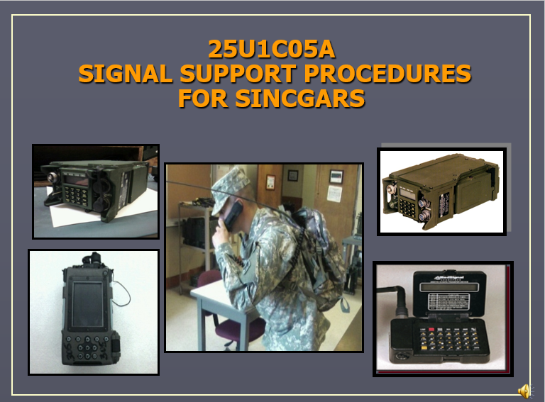 Signal Support Proccedures for SINCGARS