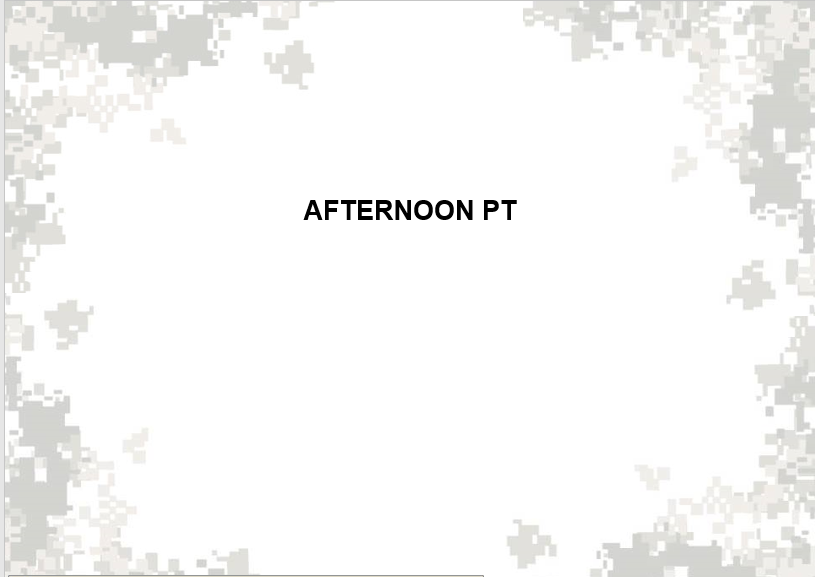 A powerpoint of schedule of afternoon PT
