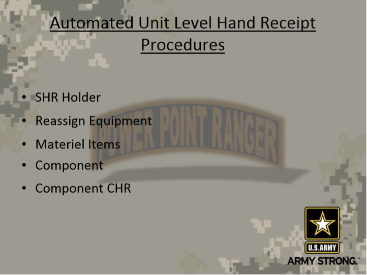 Automated Hand Receipt Procedures