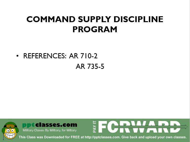 Command Supply Discipline Version I
