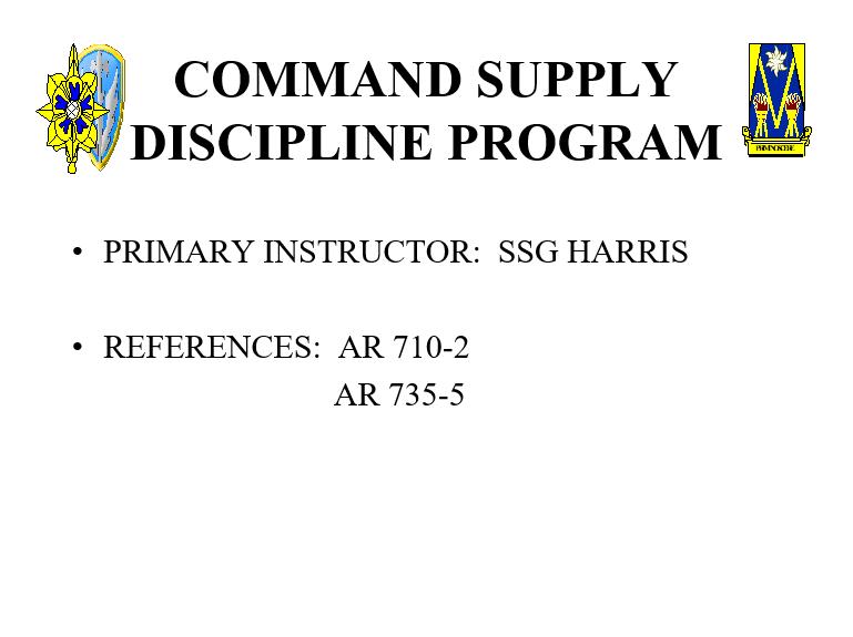 Command Supply Discipline Version II