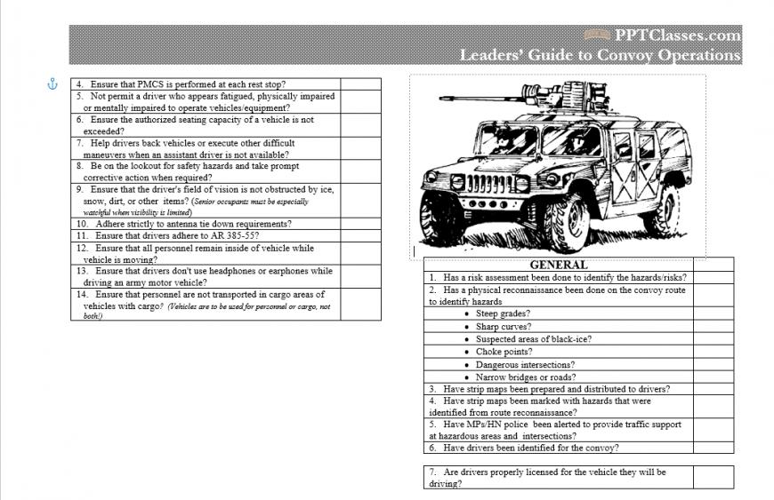 Convoy Operations Checklist
