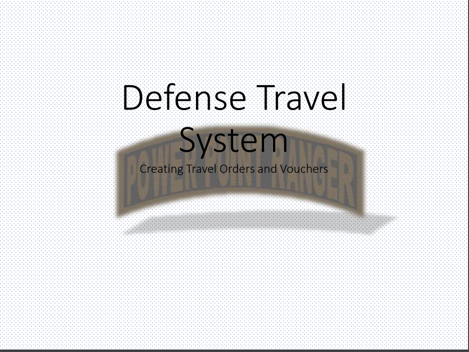 Defense Travel System pdf class