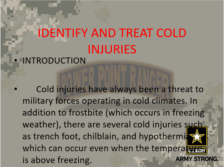 Identify and Treat Cold Weather Injuries version II
