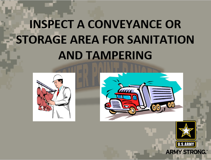 Inspect a Conveyance or Storage area for Sanitation