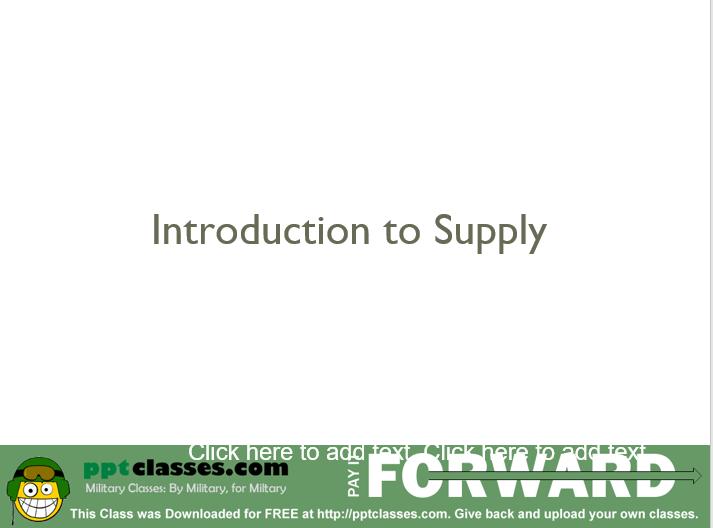 Intro to Supply