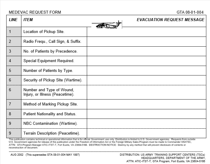 MEDEVAC Request Form