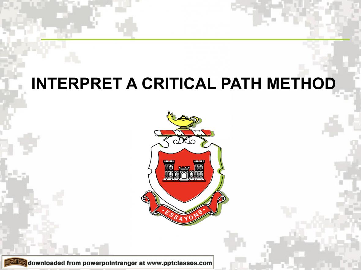 Interpret a Critical Path Method PPT Class