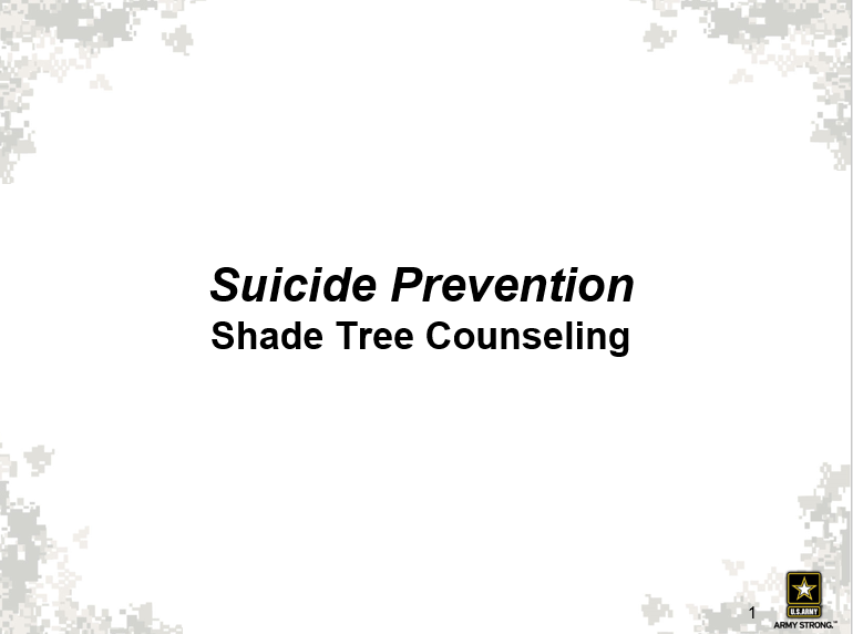 Suicides, A Shade Tree Counseling Approach