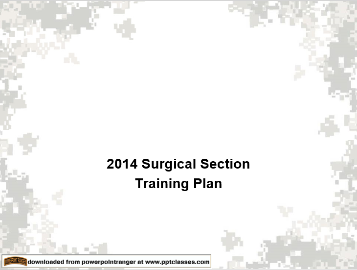 Surgical Section Training Plan