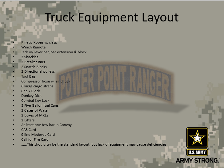 Truck Equipment Layout