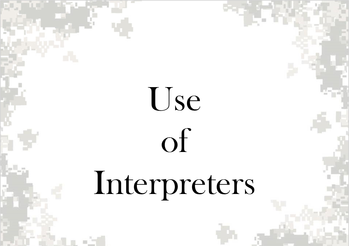 Use of Interpreters
