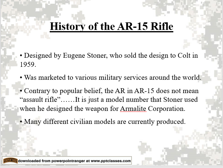 A power point class on AR-15 Fundamentals