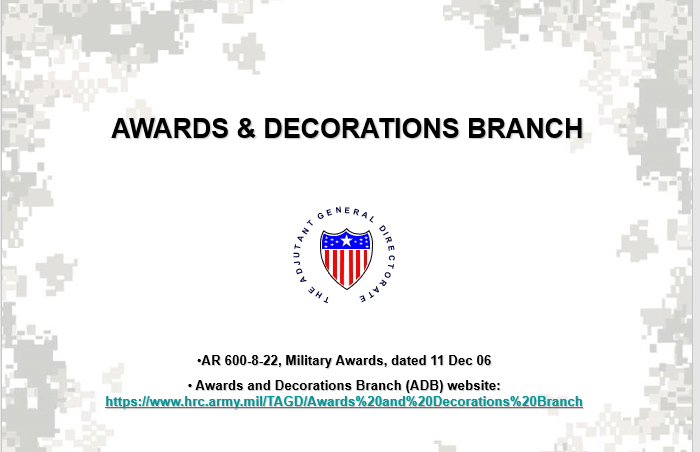 A powerpoint class on the Army Awards Branch