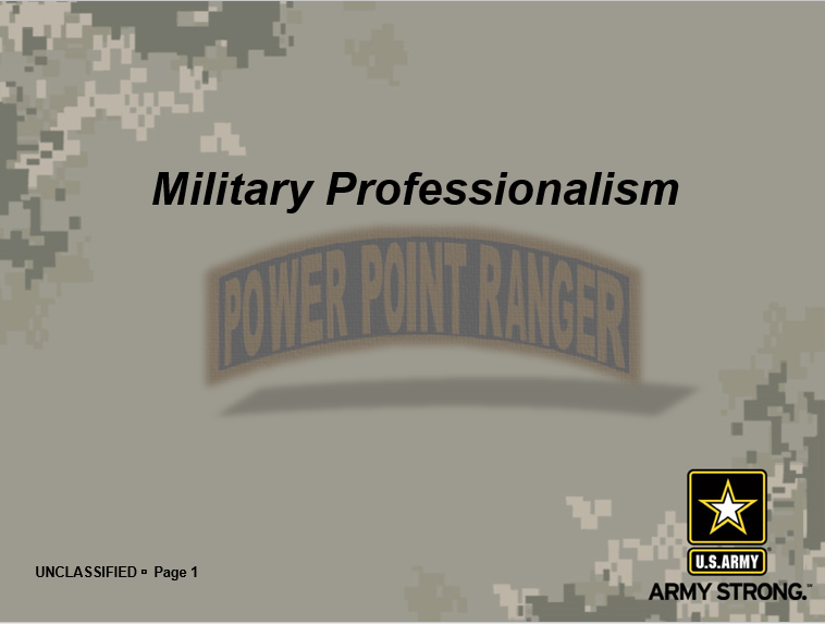 A power point class on Army Professionalism