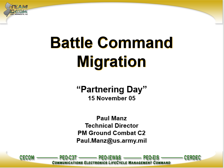A power point class on Battle Command Migration Systems
