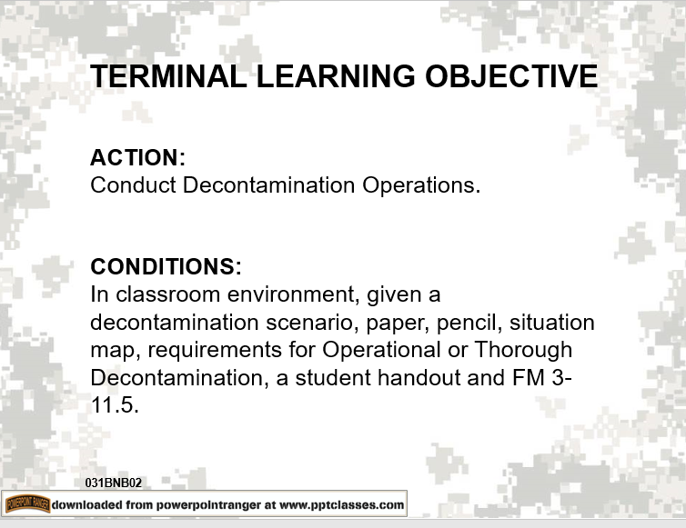 A power point class on coducting decontamination operations