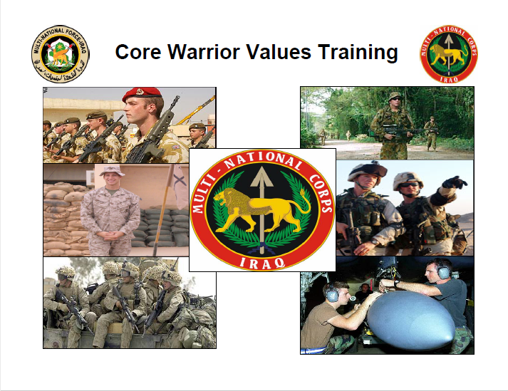 A power point class on core warrior values training
