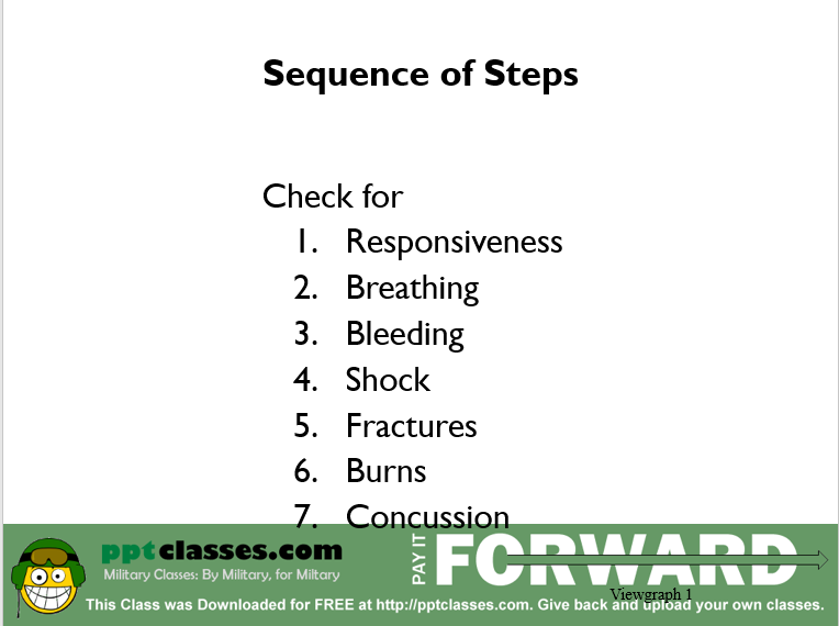 A power point class on the sequence of steps to evaluate a casualty