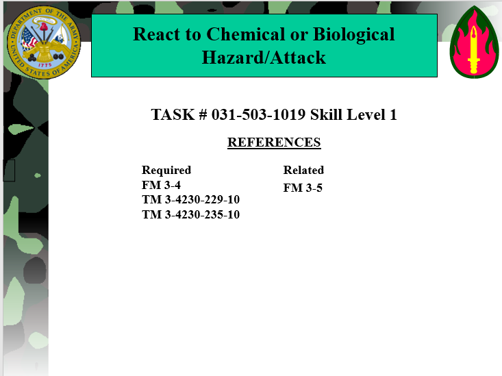 A power point class React to Chemical or Biological (CB) Hazard/Attack