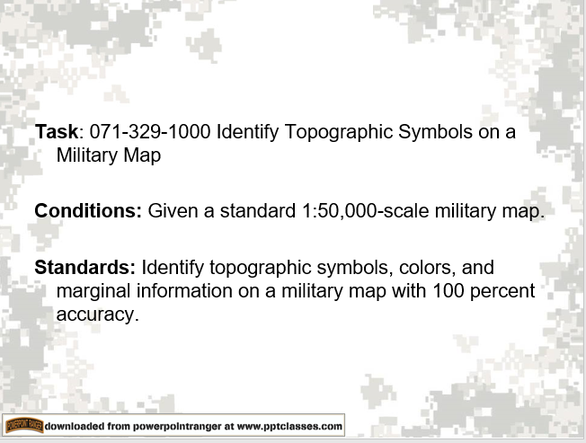A power point class on Identify Topographic Symbols on a Military Map
