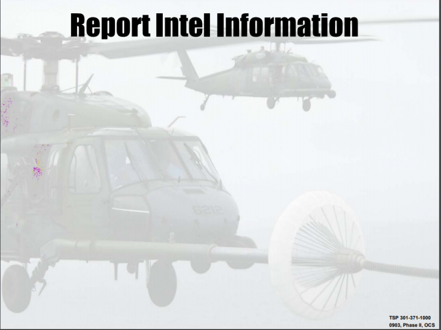 A class on how to report intel information