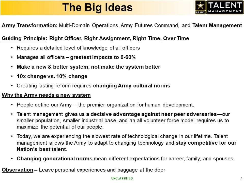 The Army defines talent as the unique intersection of knowledge, skills, behaviors, and preferences (KSB-Ps)