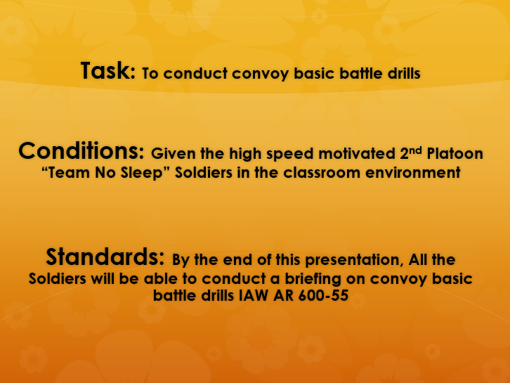Conduct basic convoy battle drills