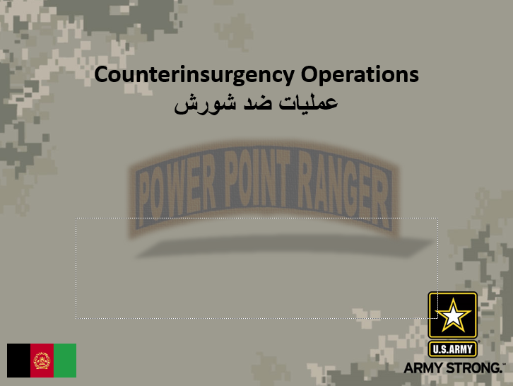 Counterinsurgency (COIN), English and Dari