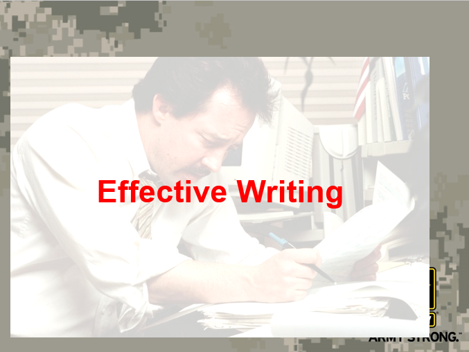 Effective Army Writing Class