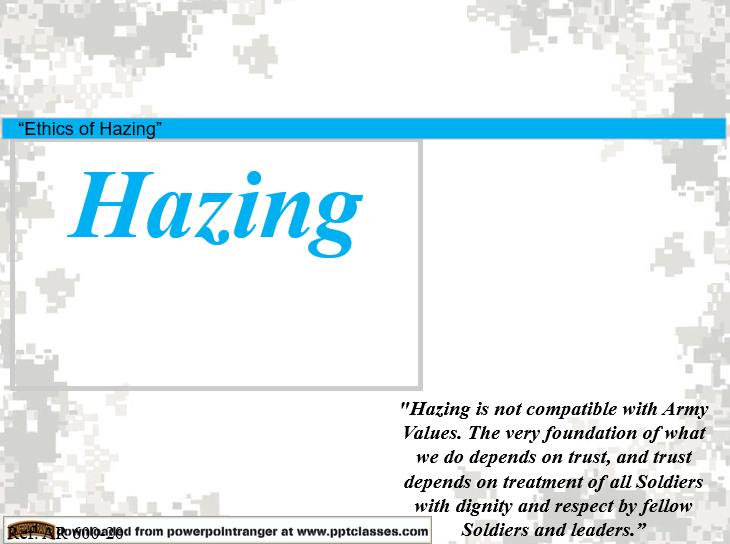 Hazing, a class in Ethics