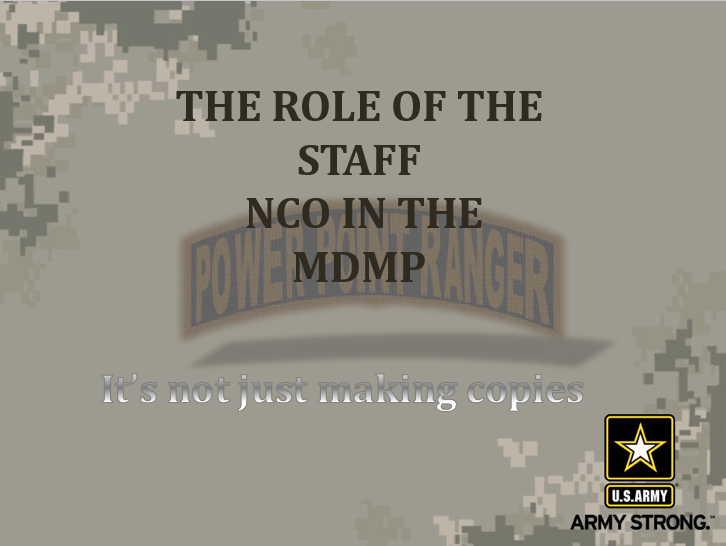 MDMP and the NCO Perspective