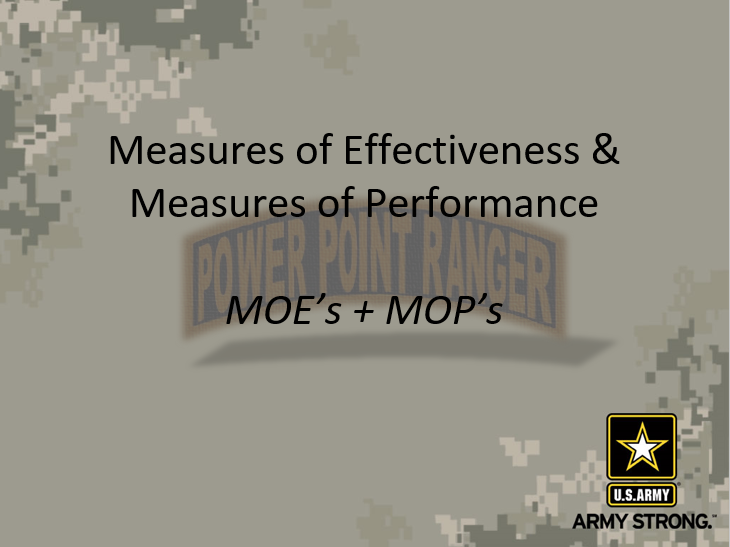 Measures of Effectiveness (MOE) and Measures of Performance (MOP)