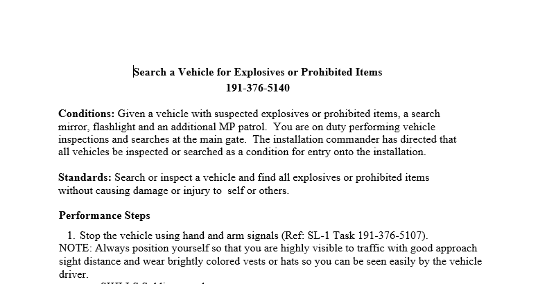 Search a Vehicle for Explosives or Prohibited Items