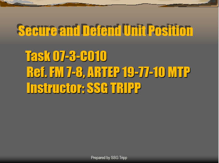 Secure and Defend Unit Position