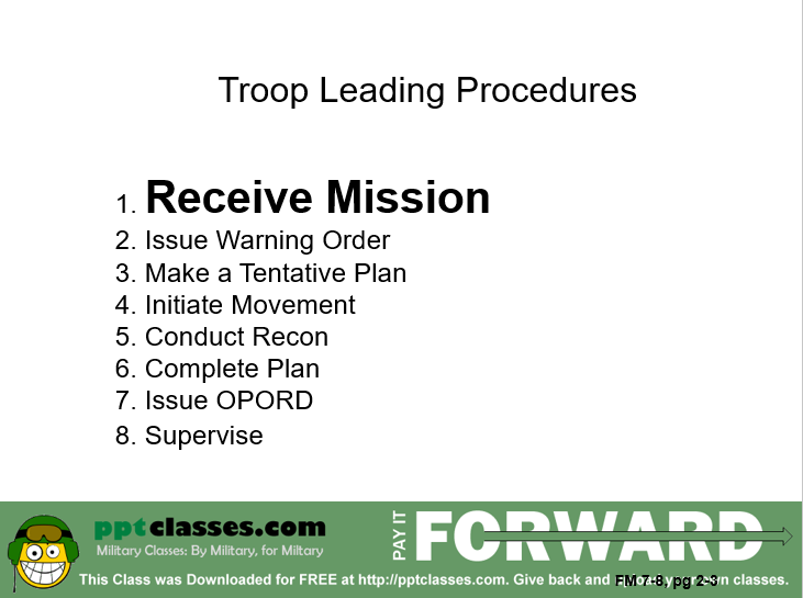 Troop Leading Procedures and MDMP