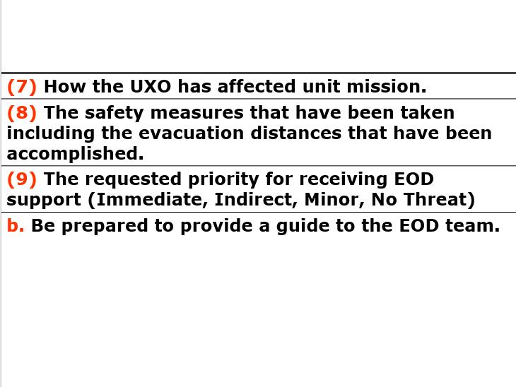 UXO, React to