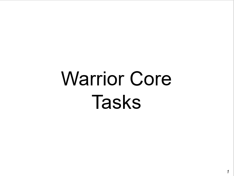 Warrior Tasks