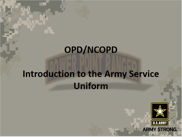 A power point class on introduction to the Army service uniform