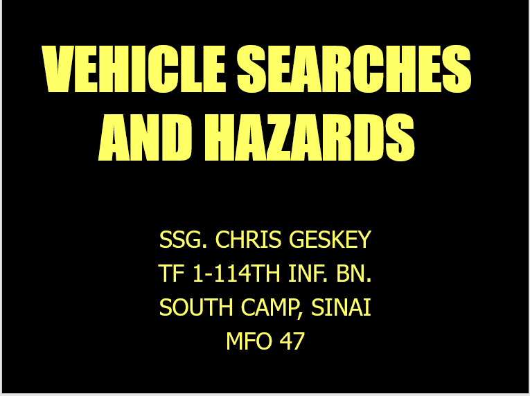 A vehicle search and hazards